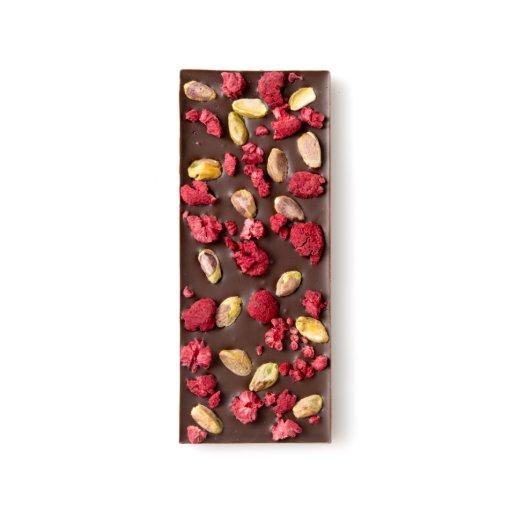 Dried Raspberry and Roasted Pistachio Dark Chocolate Bar