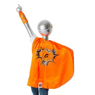 Traje anaranjado del super héroe de la juventud