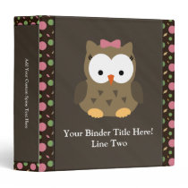 Cute Baby Girl Owl with Pink Bow Vinyl Binders