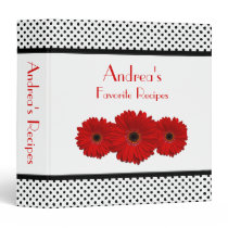 Red Daisy Black and White Polka Dot Recipe Binder