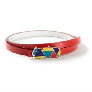 Rainbow Enamel Buckle with Red Genuine Italian Leather Skinny Belt