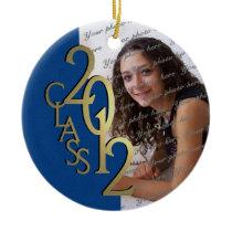 Class 2012 Graduation Photo Gold and Blue Ornament