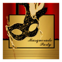 Black Gold Mask Red Black Masquerade Party Custom Announcement