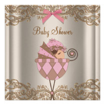 Pink Brown Lace Girl Baby Shower Invite
