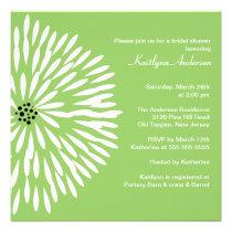 White Flower Sage Spring  Bridal Shower Invitation
