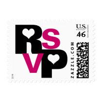 "Black & Fuchsia ""RSVP"" Postage Stamps"