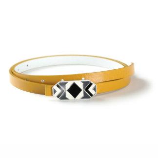 Geometric Buckle with Mustard Yellow Italian Leather Skinny Belt