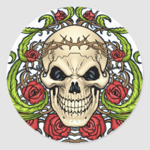 Skull and Roses with Crown Of Thorns by Al Rio Sticker