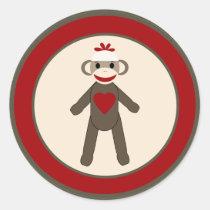 "20 - 1.5""  Envelope Seal Red Sock Monkey Stickers"