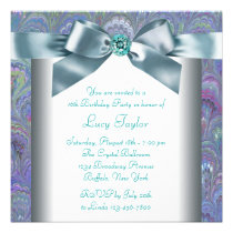 Purple Teal Peacock Paisley Sweet 16 Party Custom Announcement