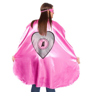 Adult Pink Superhero Costume with Silver Heart