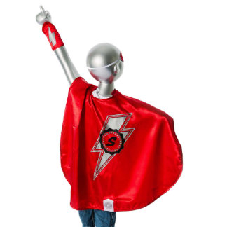 Youth Red Superhero Costume with Lightning Bolt