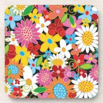 Colorful Spring Flowers Garden Cork Coaster