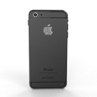 El iPhone 6 del negro del lux con el logotipo del