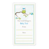 Baby Owl  Bookplate Custom Shipping Label