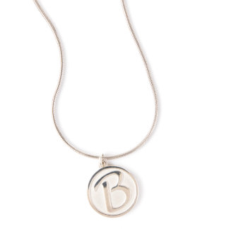 Silver Initial Pendant on Silver Snake Chain