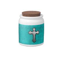 Teal Metal Cross Candy Jars