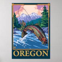 Fly Fishing Scene- Vintage Travel Poster