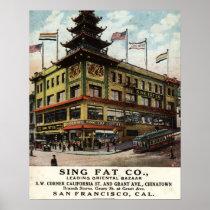 Sing Fat Chinatown San Francisco 1915 vintage Print