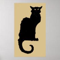 Vintage Art Nouveau, Spooky Halloween Black Cat Poster