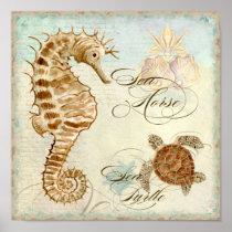 Sea Horse, Sea Turtle Coastal Beach - Fine Art Posters