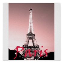 Paris Eiffel Tower Pink Print