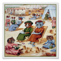 Cats At the Beach by Louis Wain Poster