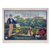 Uncle Sam says - garden to cut food costs Posters