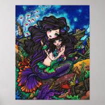 Mom & Baby Mermaid Fantasy Marine Art Hannah Lynn Poster