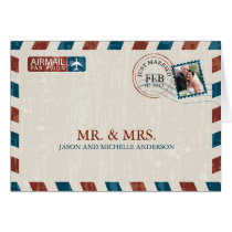 Vintage Airmail Wedding Thank You Greeting Card