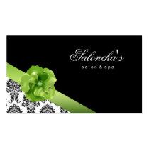 Salon Spa Business Card black green floral damask