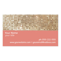 Cute FAUX Sparkly Gold Sequins Peach Business Cards