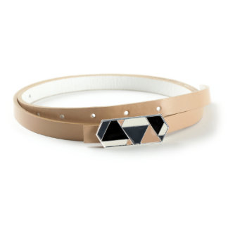 Geometric Sterling Silver Buckle with Tan Genuine Leather Skinny Belt