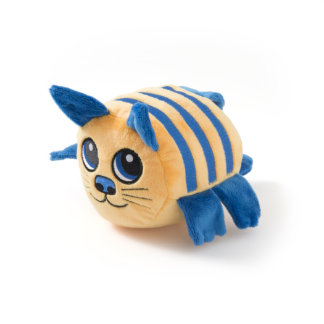Yellow Cat with Royal Blue Stripes Stuffed Animal