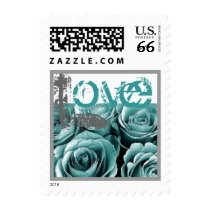 TURQUOISE BLUE & SILVER Love Rose Wedding Stamp