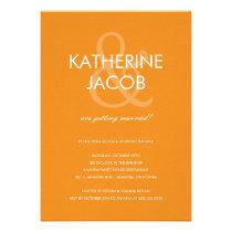 Modern Ampersand Wedding Shower Invites Orange Cards