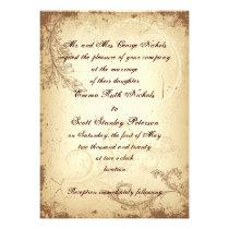 Vintage brown beige scroll leaf wedding invitation personalized invites