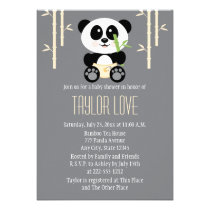 Yellow Bamboo Panda in Diapers Baby Shower Personalized Announcement