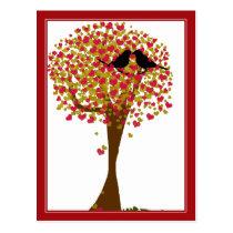 Autumn Love Birds Postcard