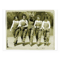 Vintage Retro Women Kitsch Jeans Overalls Girls Post Cards