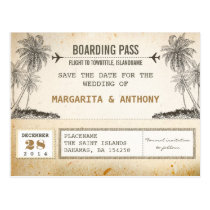 beach palms vintage boarding pass save the date post cards