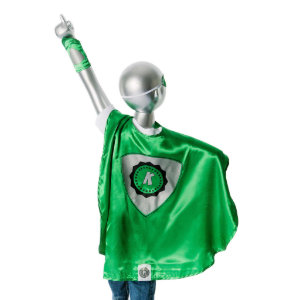 Youth Green Superhero Costume with Black Shield