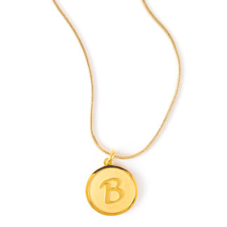 Gold Plated Initial Pendant on Snake Chain