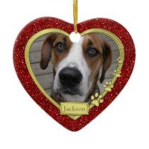 Pet Dog Memorial Photo Christmas Ornament - heart