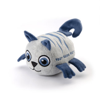 Gray Cat with Blue Stripes Stuffed Animal