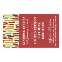 Birthday Wine Label - Red Rectangle Sticker