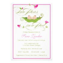 Baby Shower Invitation - Twin Girls Pea in a Pod