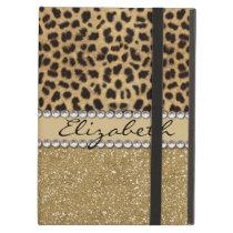 Leopard Spot Gold Glitter Rhinestone PHOTO PRINT iPad Air Case