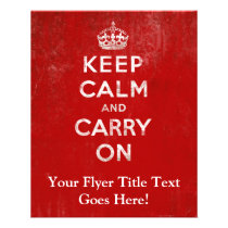 Vintage Deep Red Distressed Keep Calm and Carry On Flyers