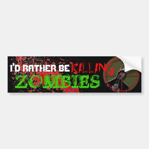 I'D RATHER BE KILLING ZOMBIES blood stain